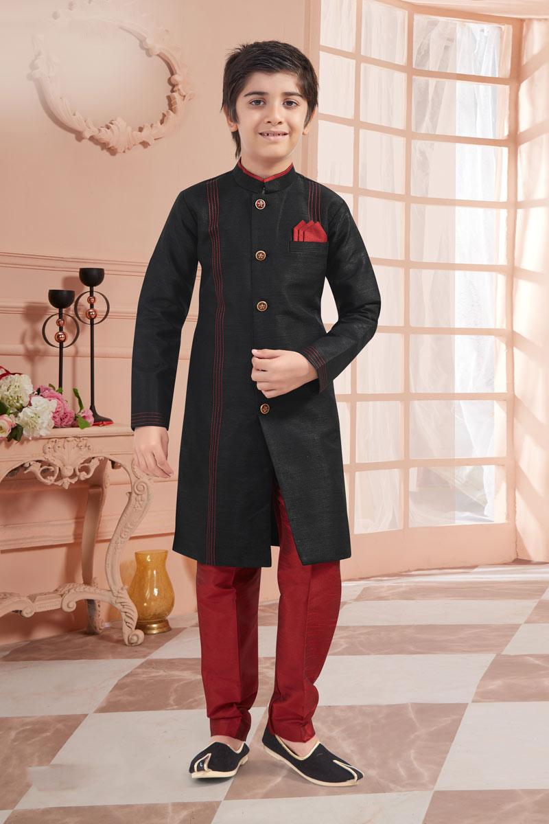 Eid Special Art Silk Fabric Black Color Indowestern For Boys