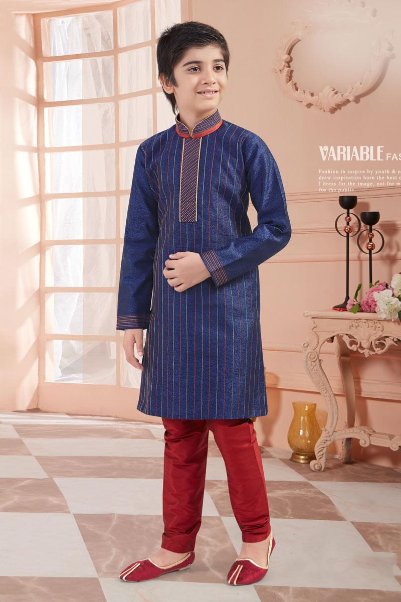 Jacquard Fabric Occasion Wear Kurta Pyjama Set For Boys In Blue Color