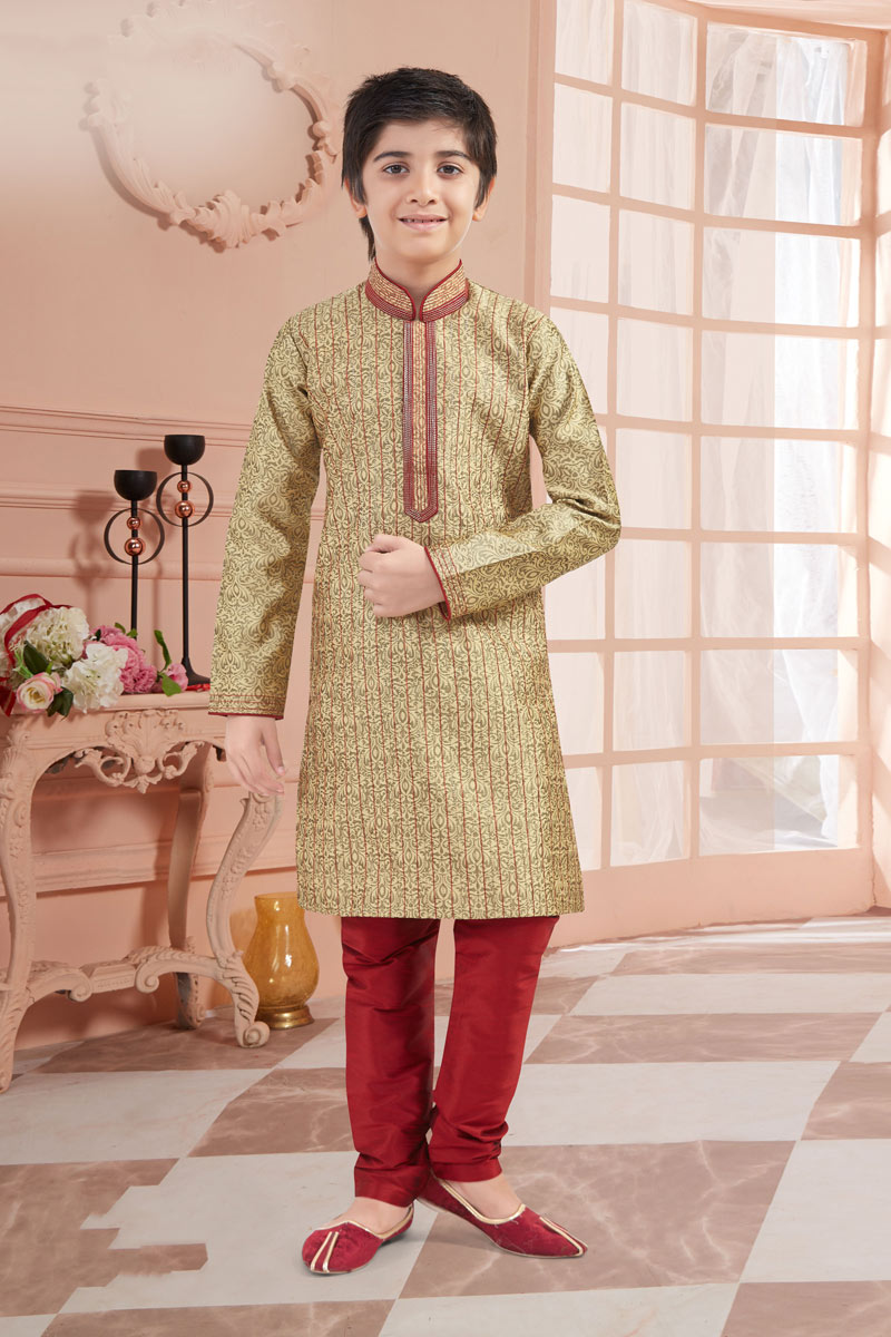 Jacquard Fabric Occasion Wear Kurta Pyjama Set For Boys In Beige Color