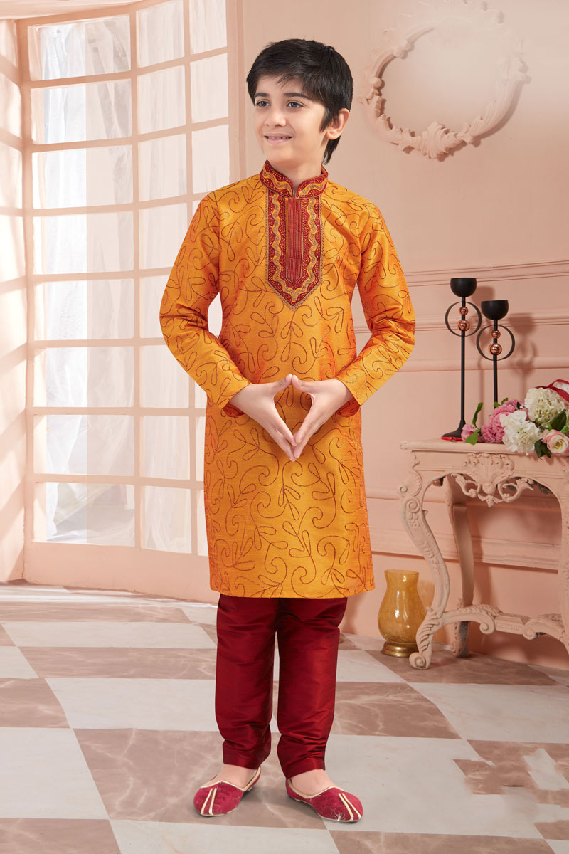 Eid Special Art Silk Fabric Traditional Wear Kurta Set For Boys In Orange Color