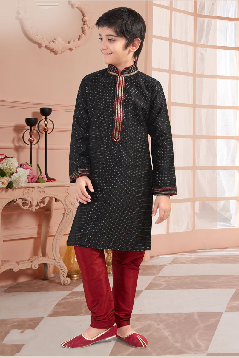 Black Color Traditional Wear Jacquard Fabric Kurta Set For Boys