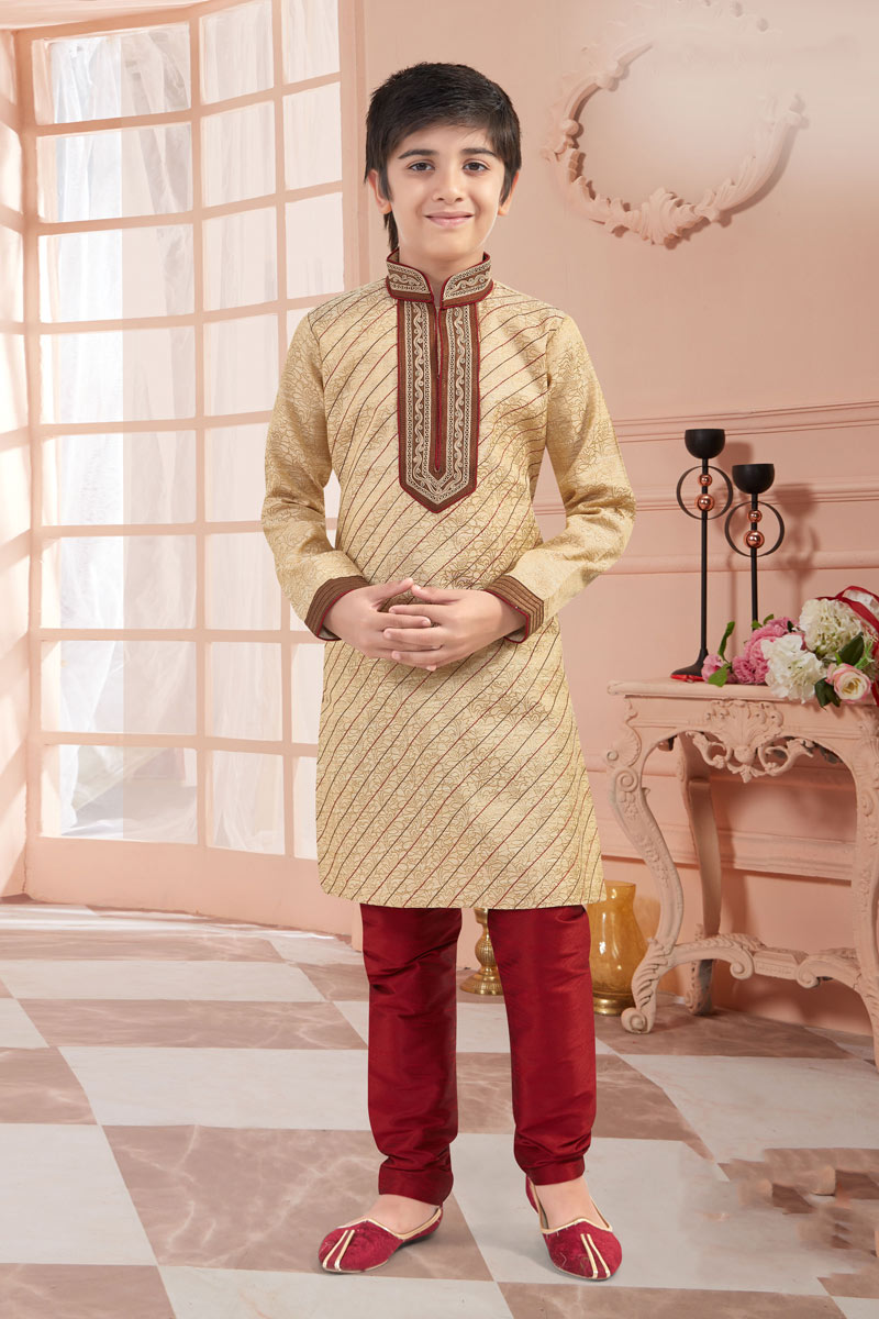 Eid Special Classic Cream Color Jacquard Fabric Puja Wear Boys Kurta Pyjama Set