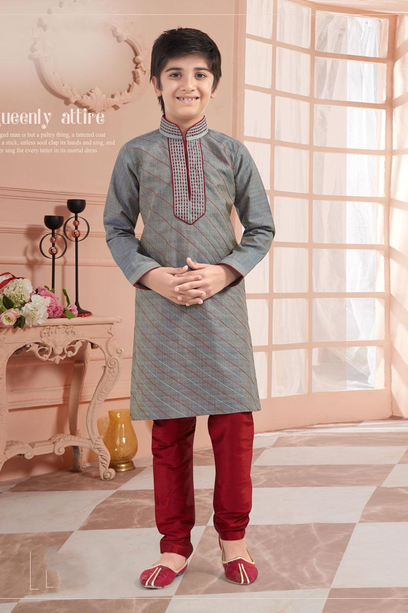 Eid Special Classic Grey Color Art Silk Fabric Puja Wear Boys Kurta Pyjama Set