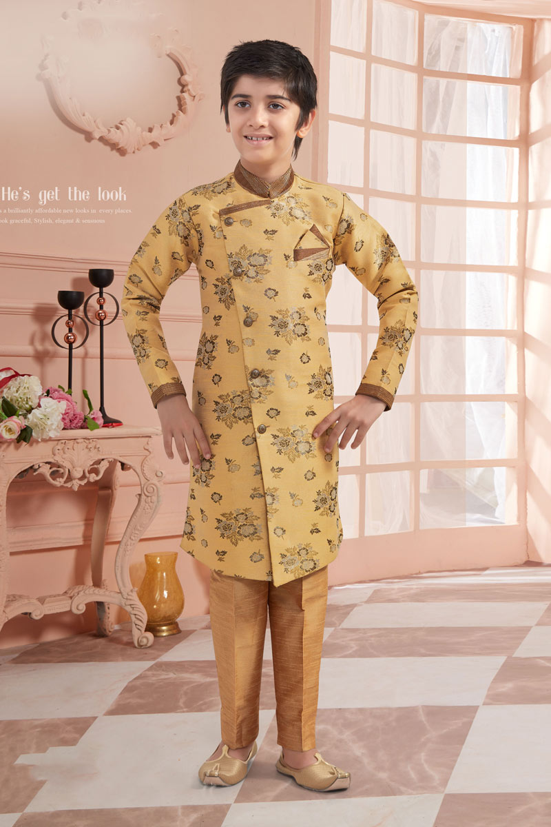 Eid Special Classic Jacquard Fabric Cream Color Function Wear Boys Indowestern