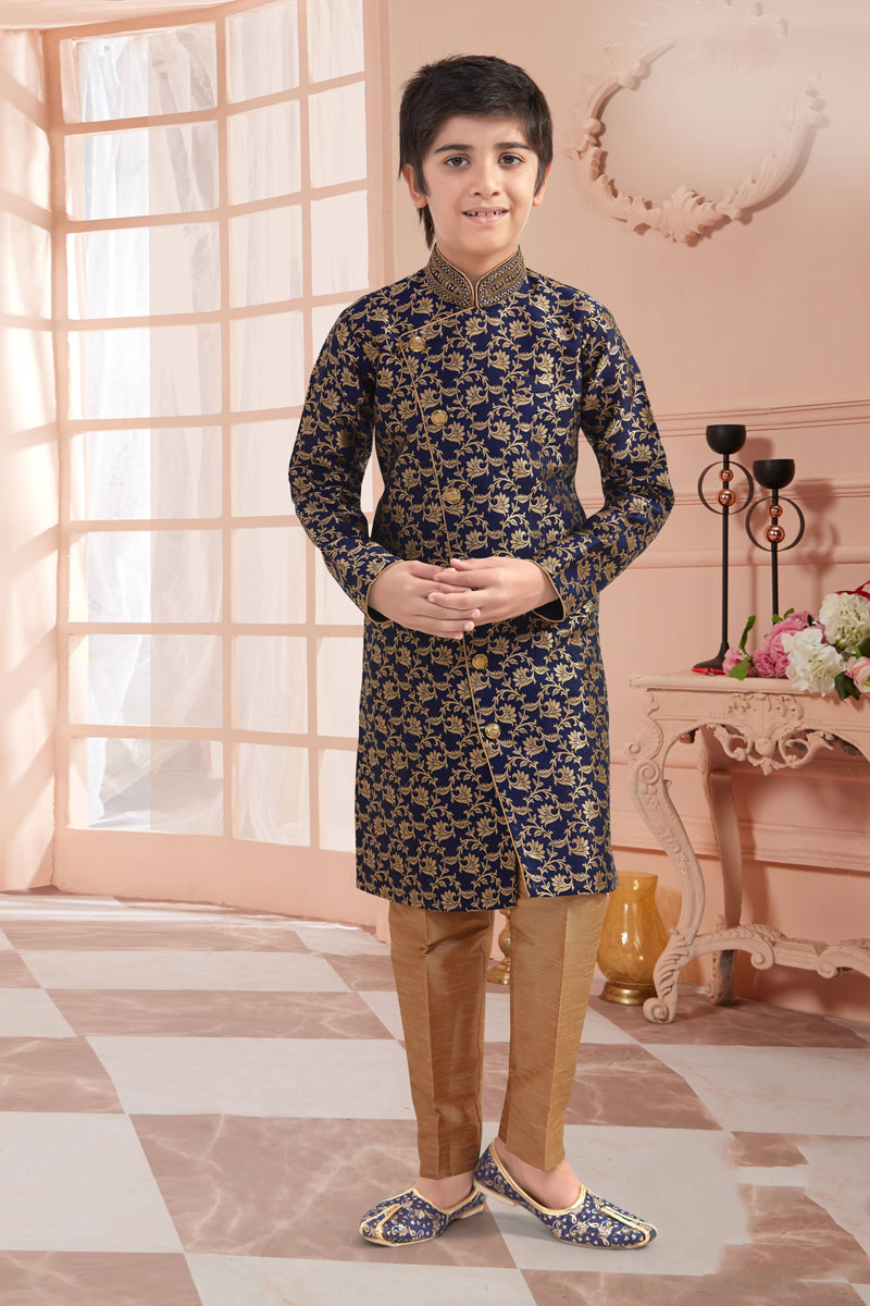 Eid Special Jacquard Fabric Indowestern For Boys In Navy Blue Color