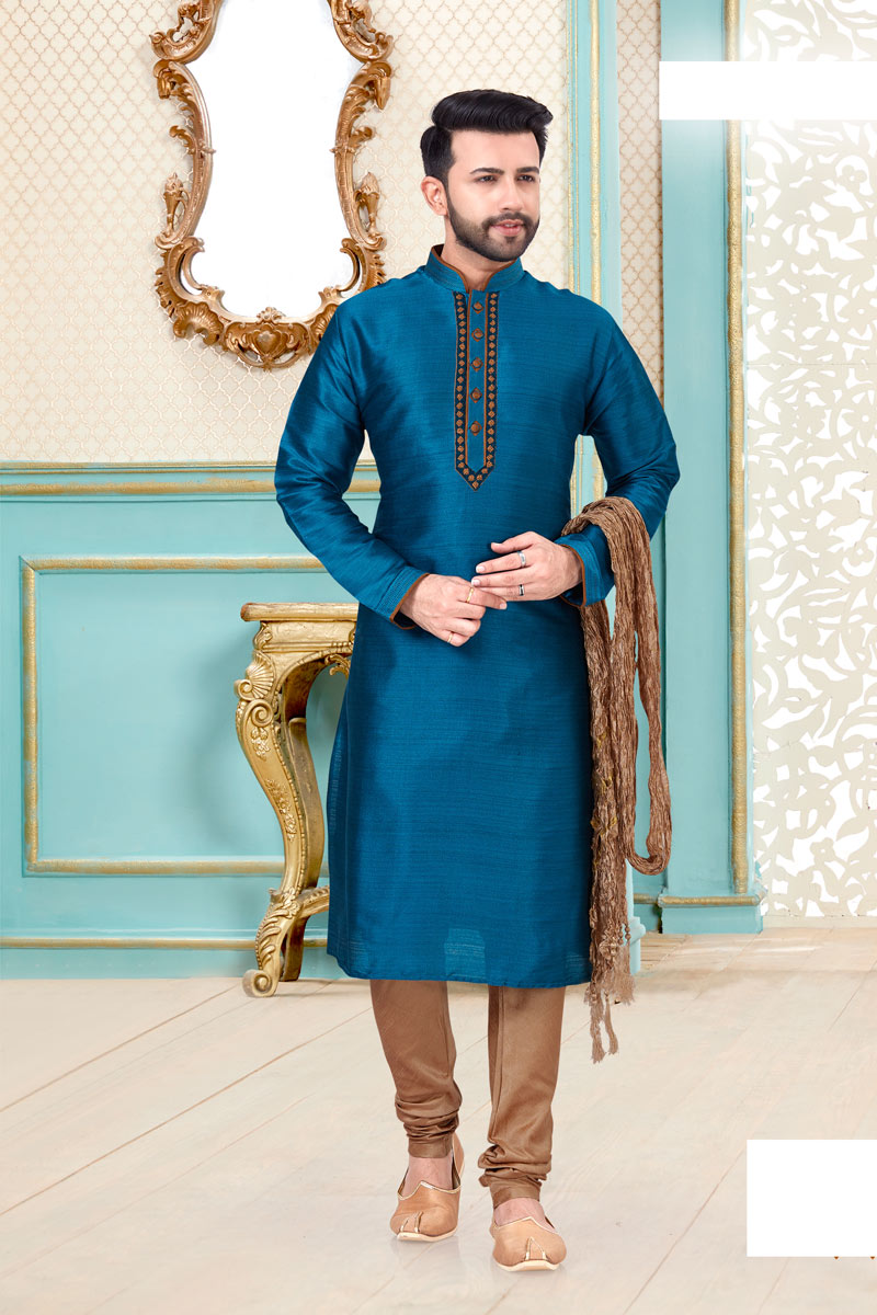 Sangeet Wear Banarasi Silk Fabric Kurta Pyjama In Sky Blue Color For Men