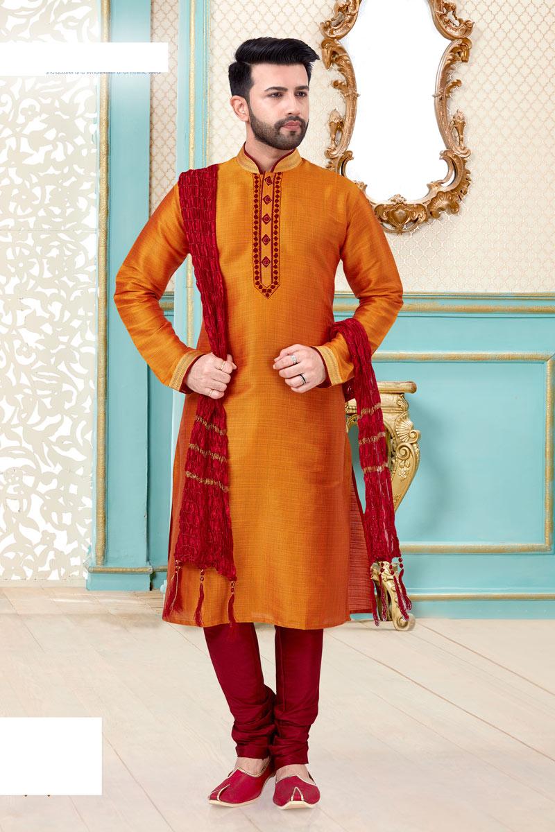Banarasi Silk Fabric Orange Color Function Wear Kurta Pyjama