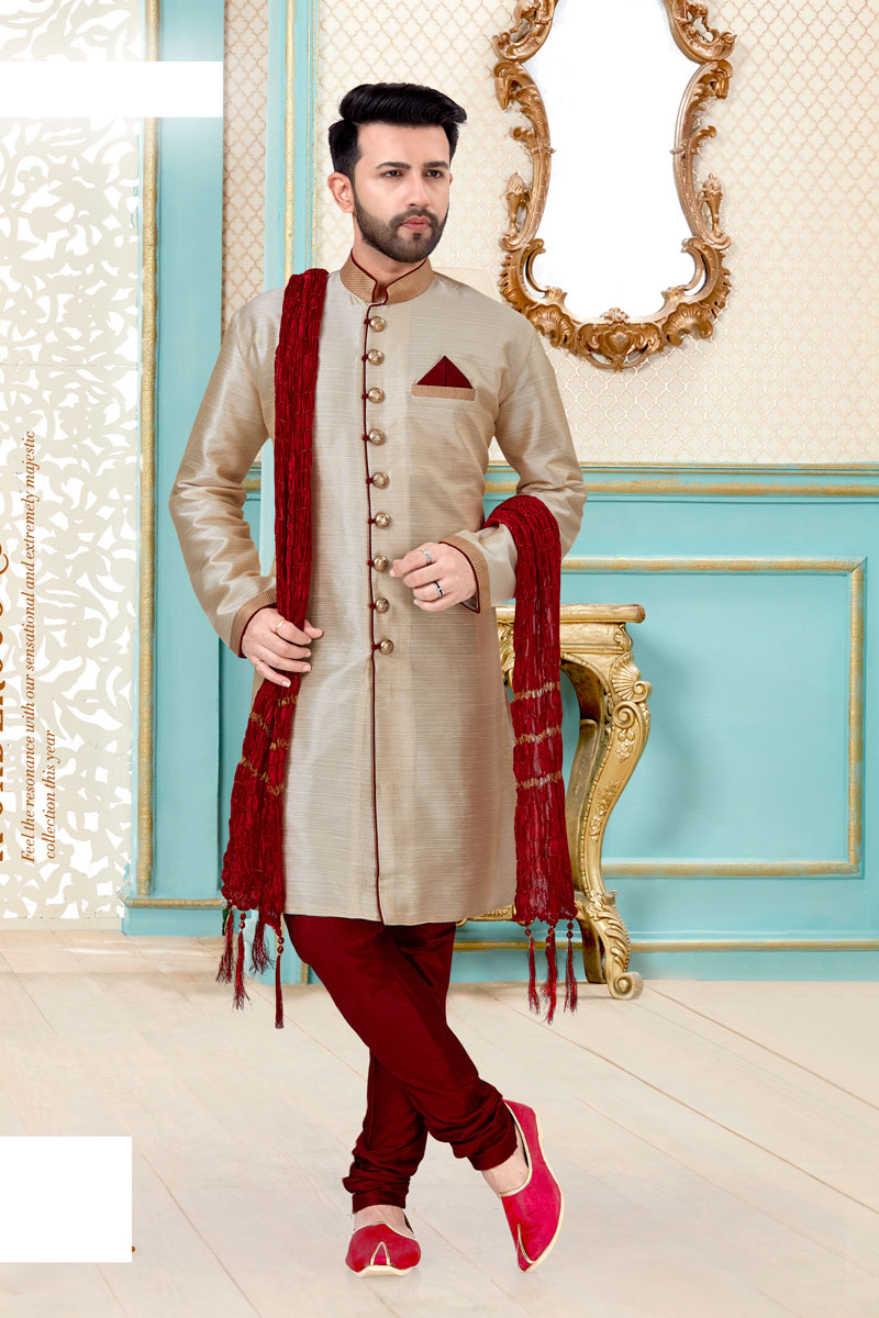 Dark Beige Color Silk Fabric Designer Kurta Pyjama