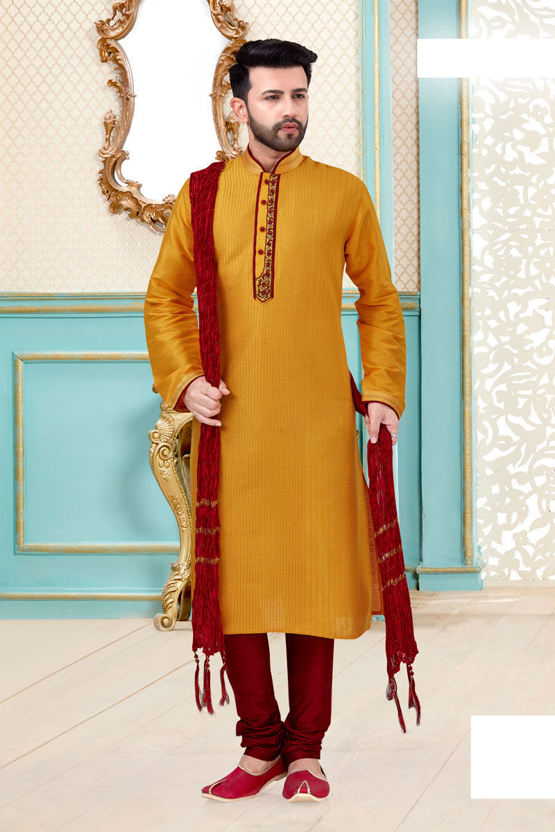 Mens Function Wear Banarasi Silk Fabric Mustard Color Kurta Pyjama