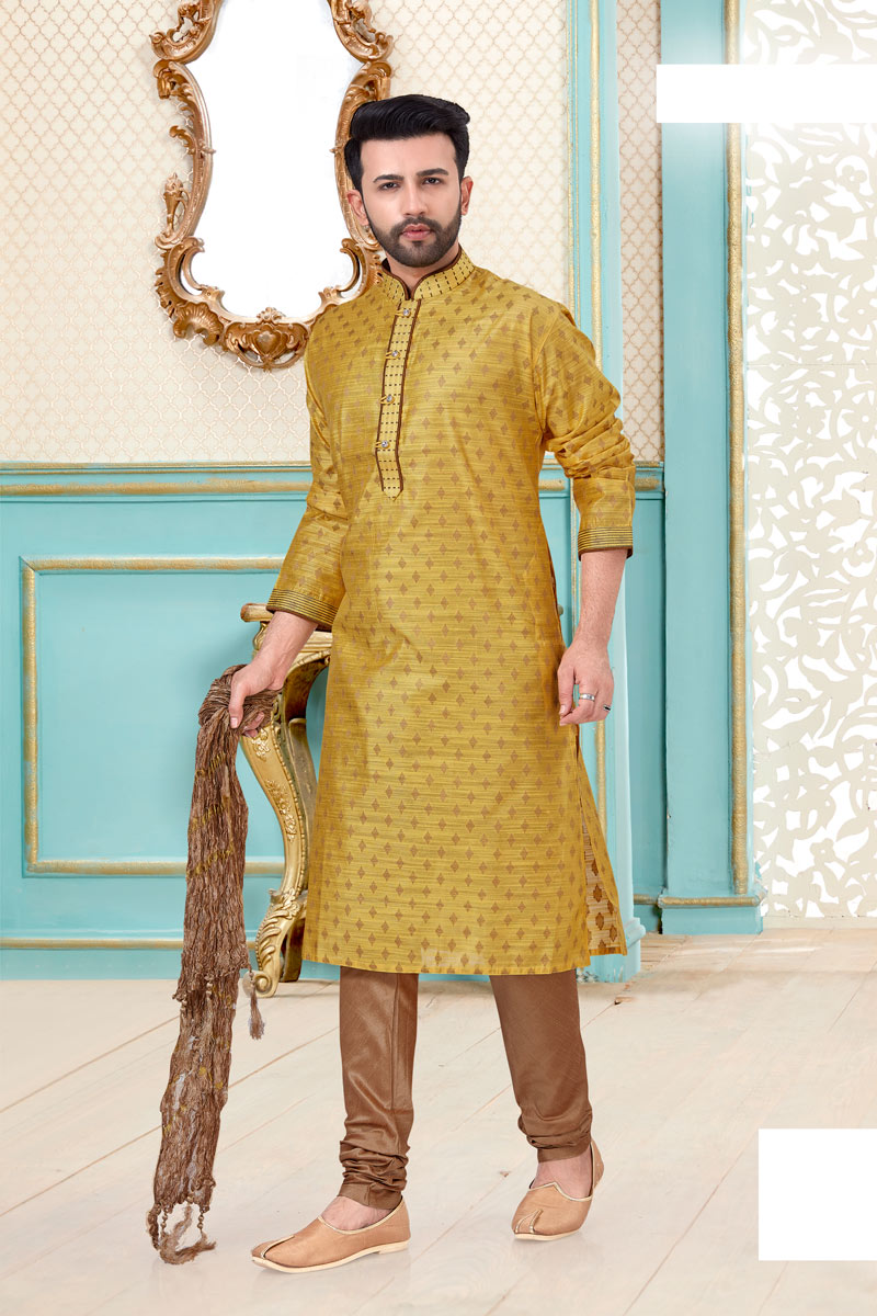 Mens Function Wear Banarasi Silk Fabric Cream Color Kurta Pyjama