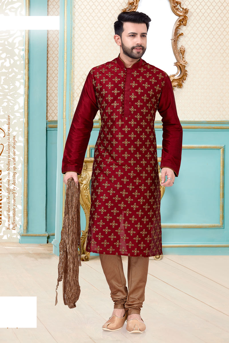 Red Color Silk Fabric Function Wear Fancy Kurta Pyjama