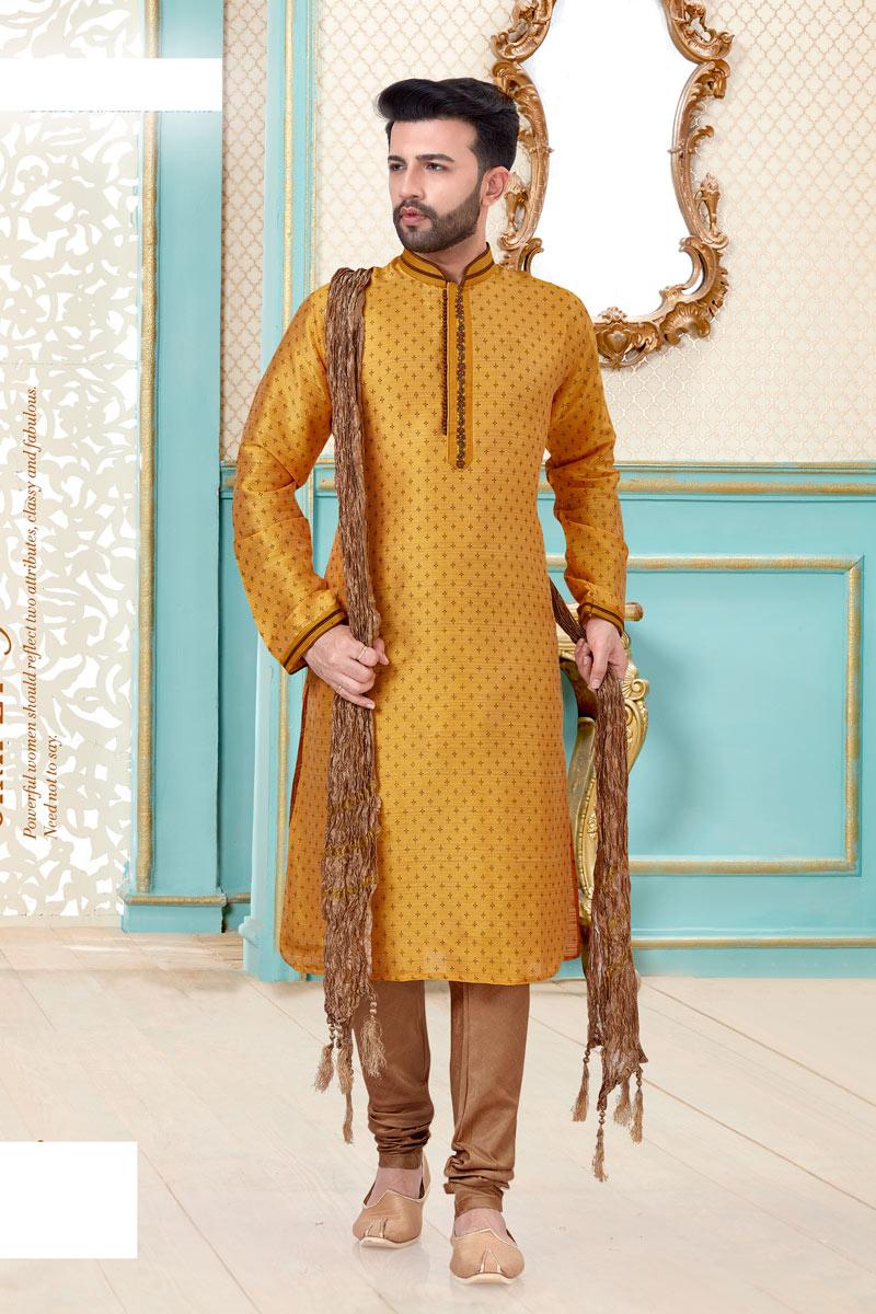 Silk Fabric Orange Color Function Wear Kurta Pyjama