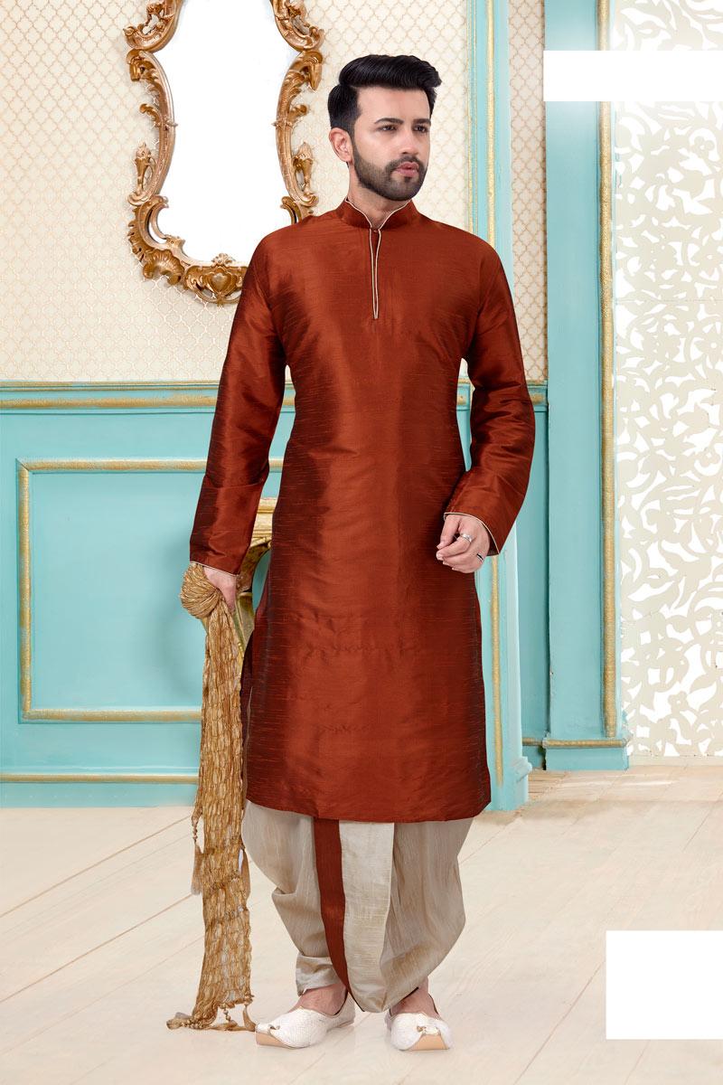 Rust Color Silk Fabric Designer Dhoti Kurta