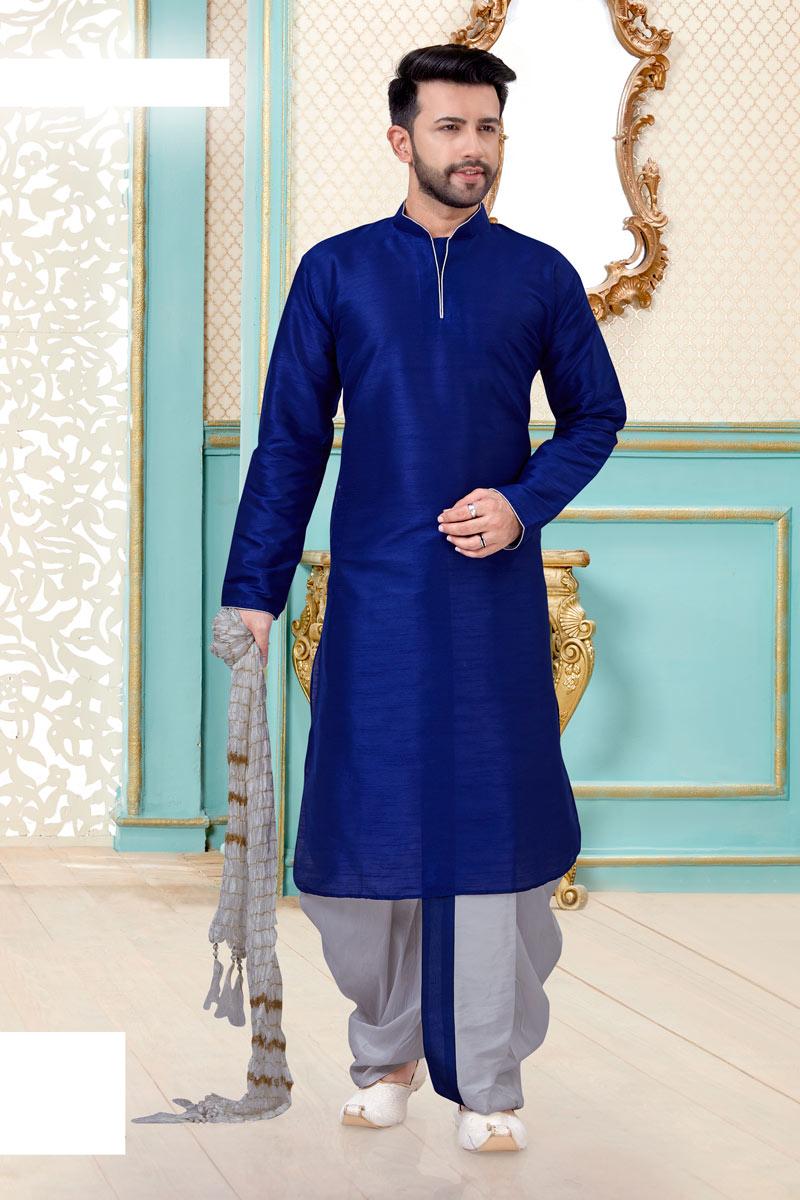 Mens Function Wear Silk Fabric Navy Blue Color Dhoti Kurta