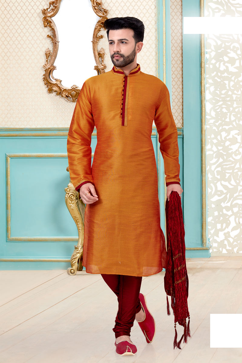 Function Wear Silk Fabric Kurta Pyjama In Orange Color