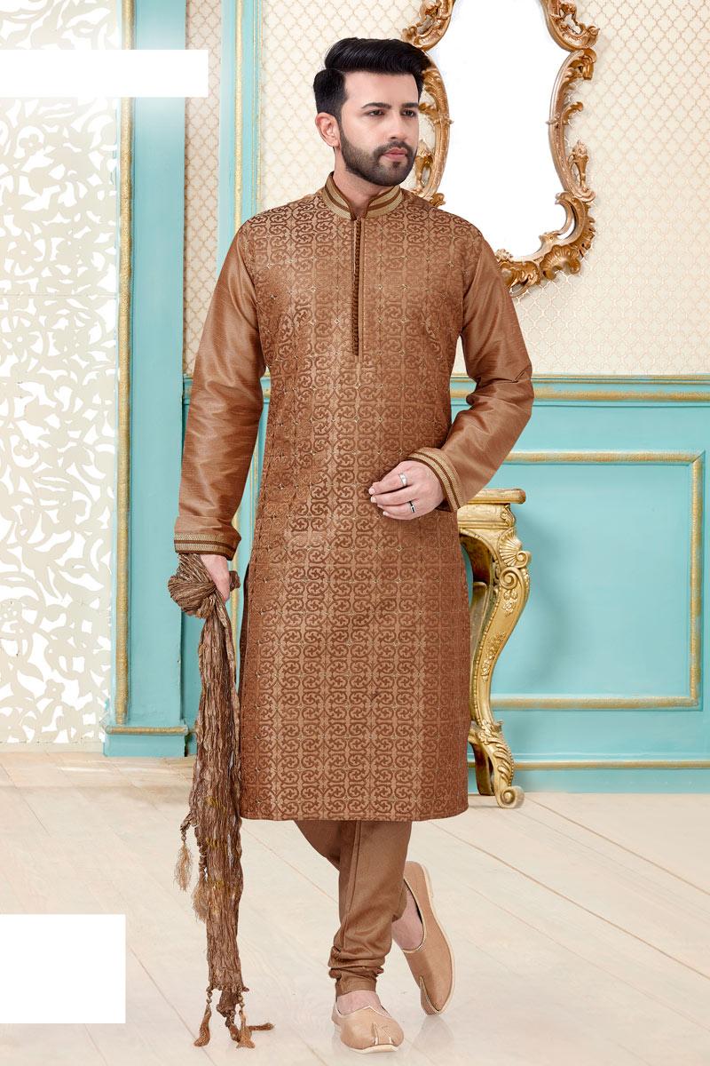 Mens Function Wear Silk Fabric Brown Color Kurta Pyjama