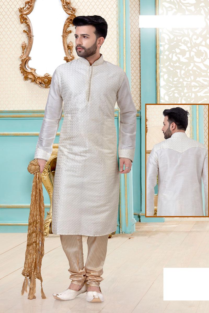 White Color Silk Fabric Function Wear Fancy Kurta Pyjama