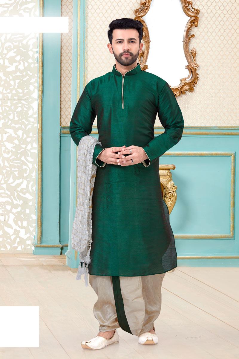Silk Fabric Festive Wear Stylish Dhoti Kurta In Teal Color