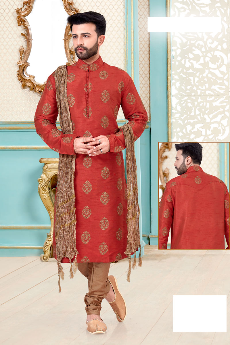 Red Color Silk Fabric Function Wear Kurta Pyjama