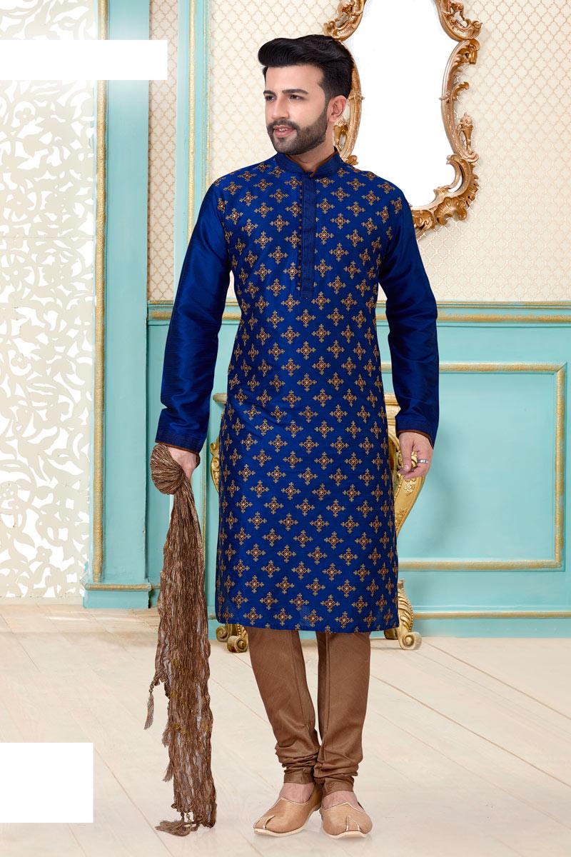 Silk Fabric Festive Wear Kurta Pyjama In Blue Color