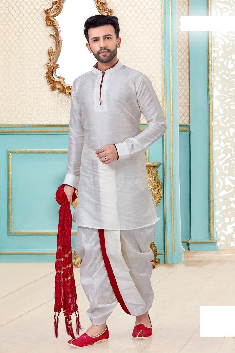 Sangeet Wear Dhoti Kurta In White Color For Men