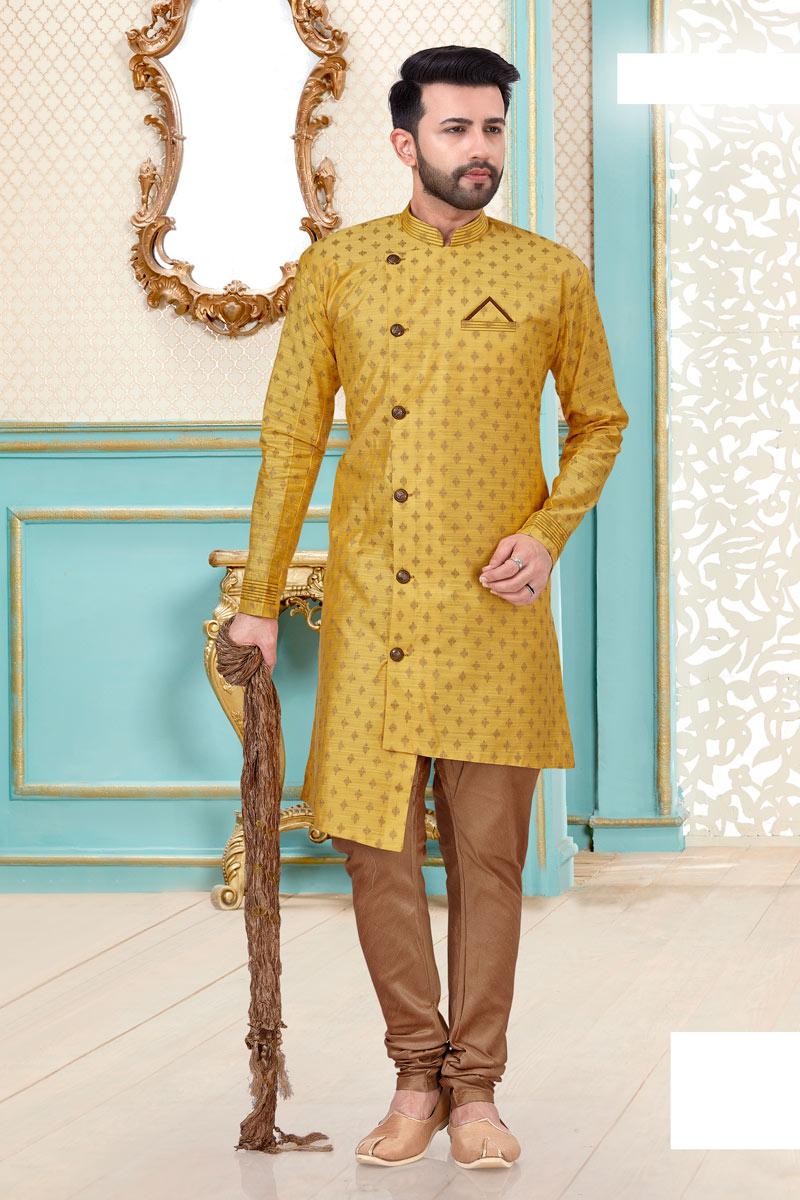 Function Wear Fancy Kurta Pyjama In Mustard Color For Men