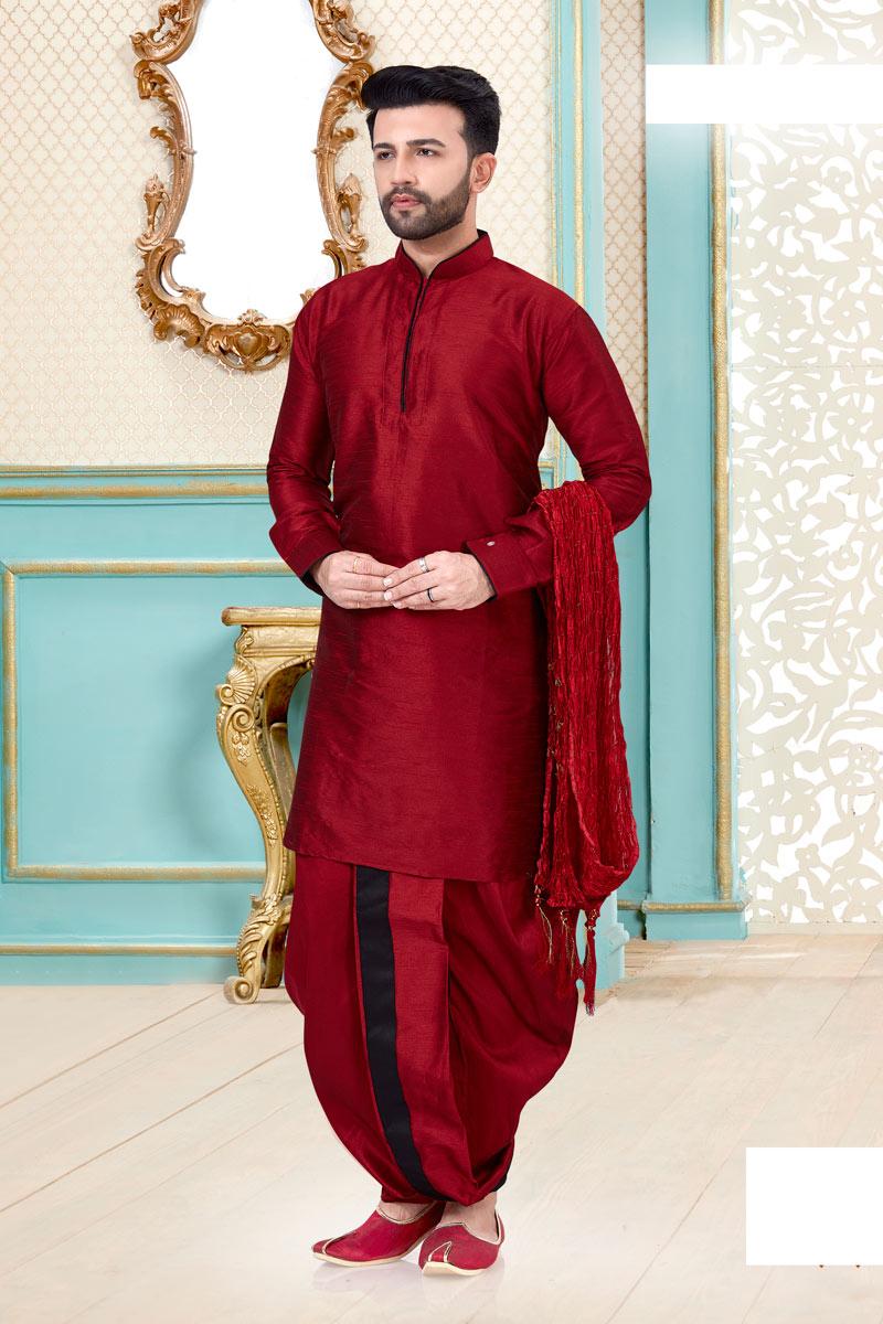 Red Color Designer Dhoti Kurta
