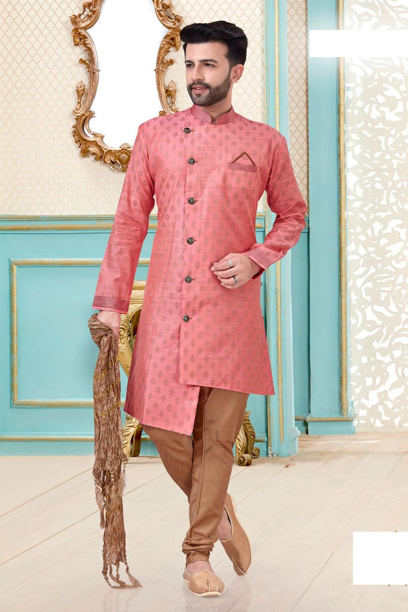 Festive Wear Trendy Kurta Pyjama In Pink Color For Men