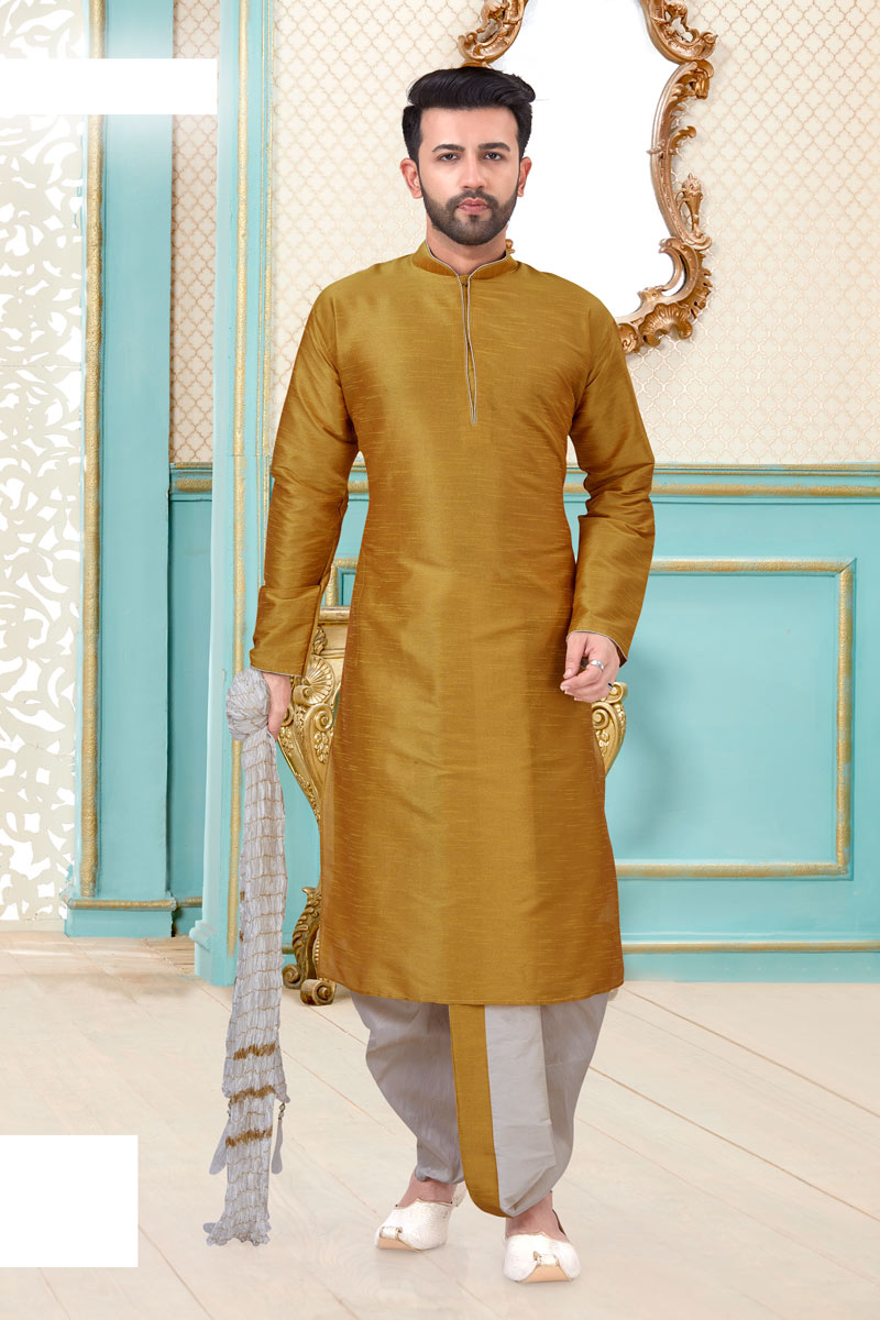 Mens Function Wear Golden Color Dhoti Kurta