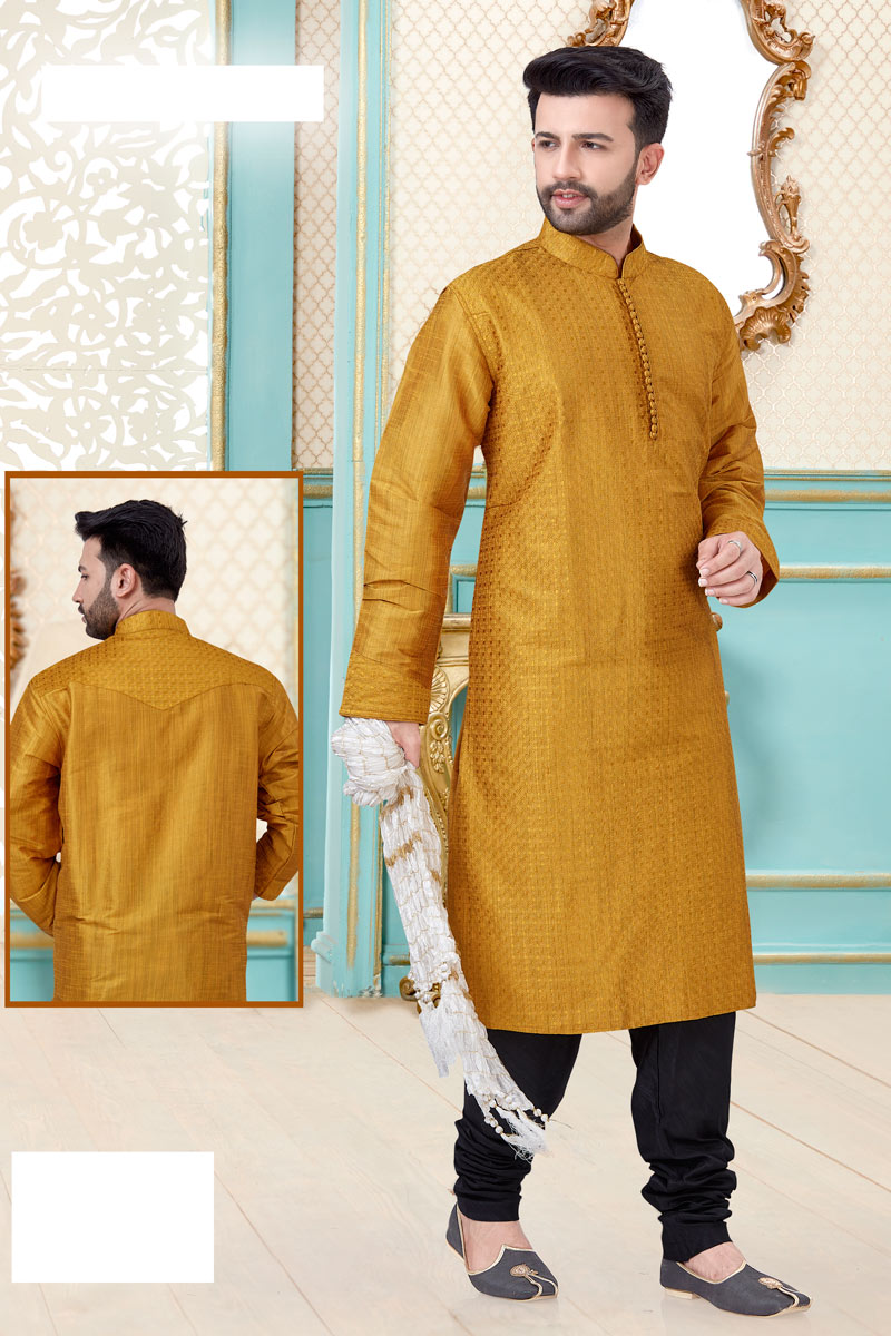 Wedding Wear Mustard Color Designer Kurta Pyjama