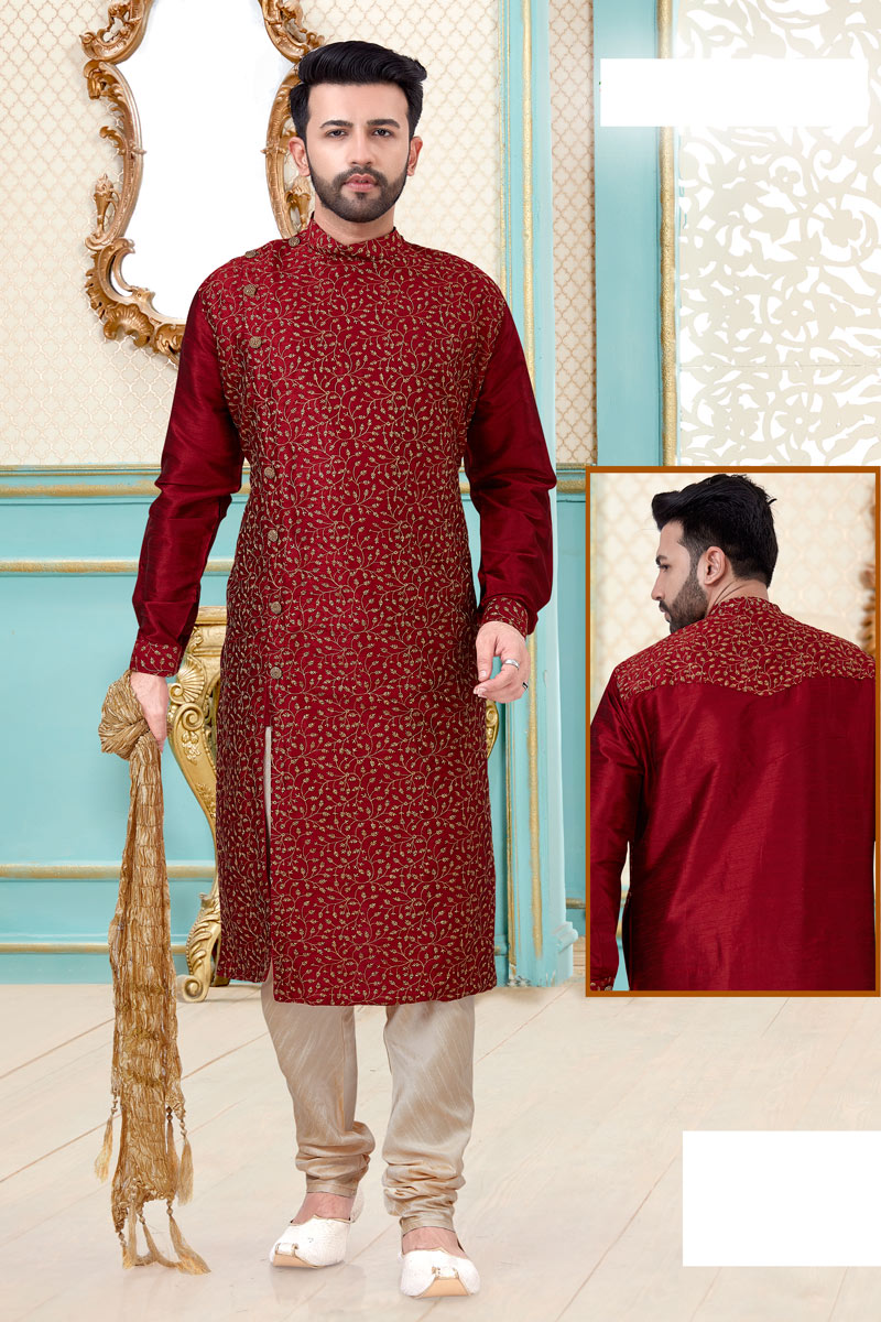 Red Color Function Wear Kurta Pyjama
