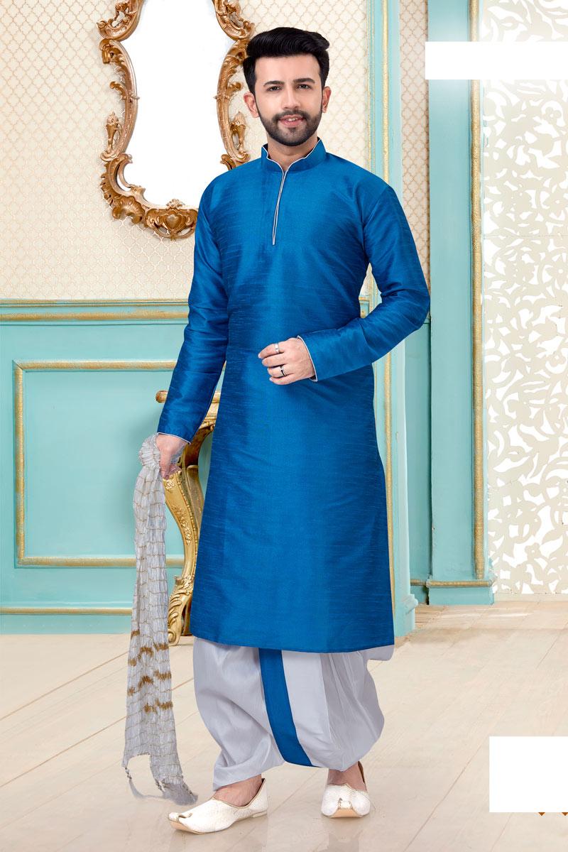 Mens Function Wear Sky Blue Color Dhoti Kurta
