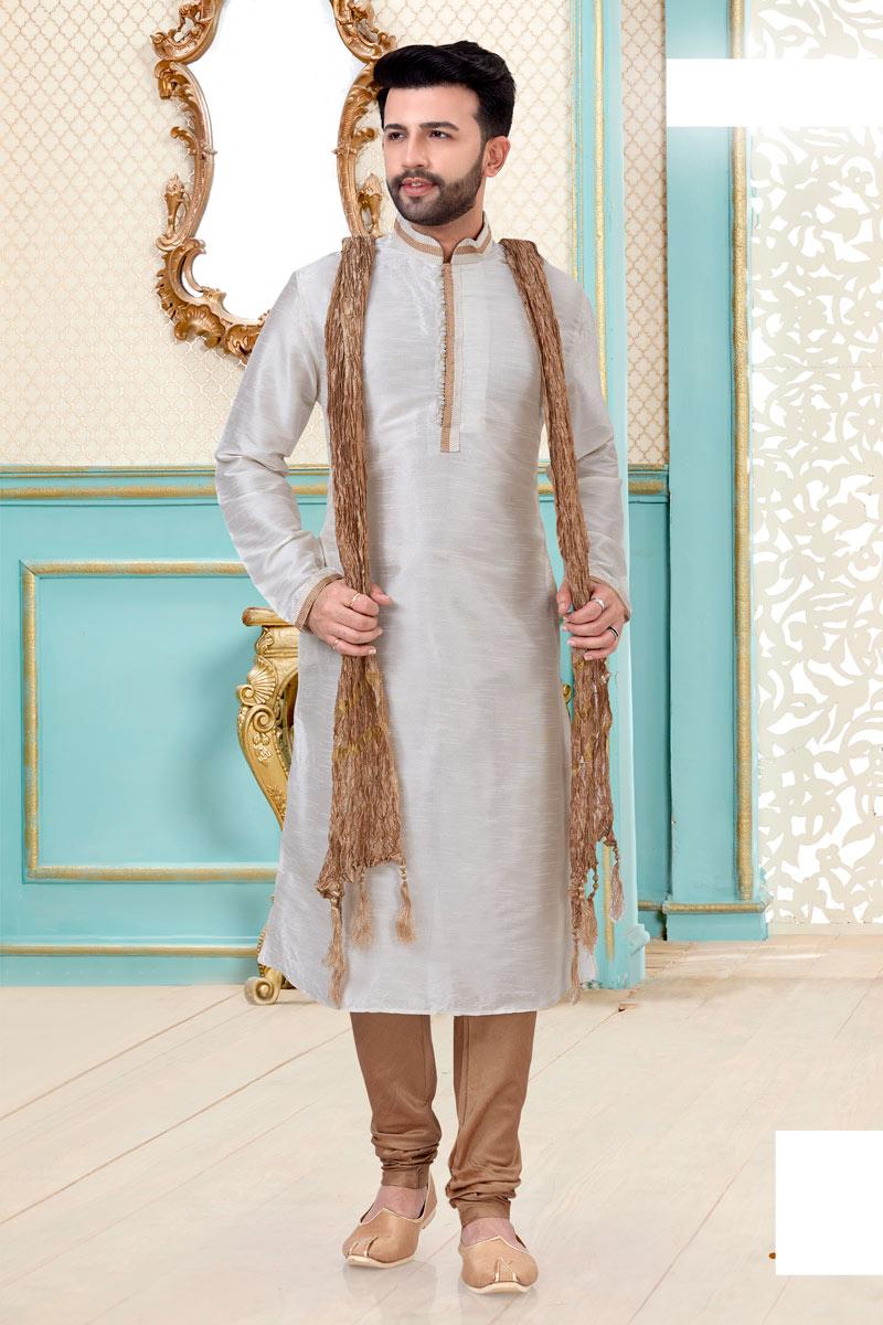 Function Wear Kurta Pyjama In Off White Color