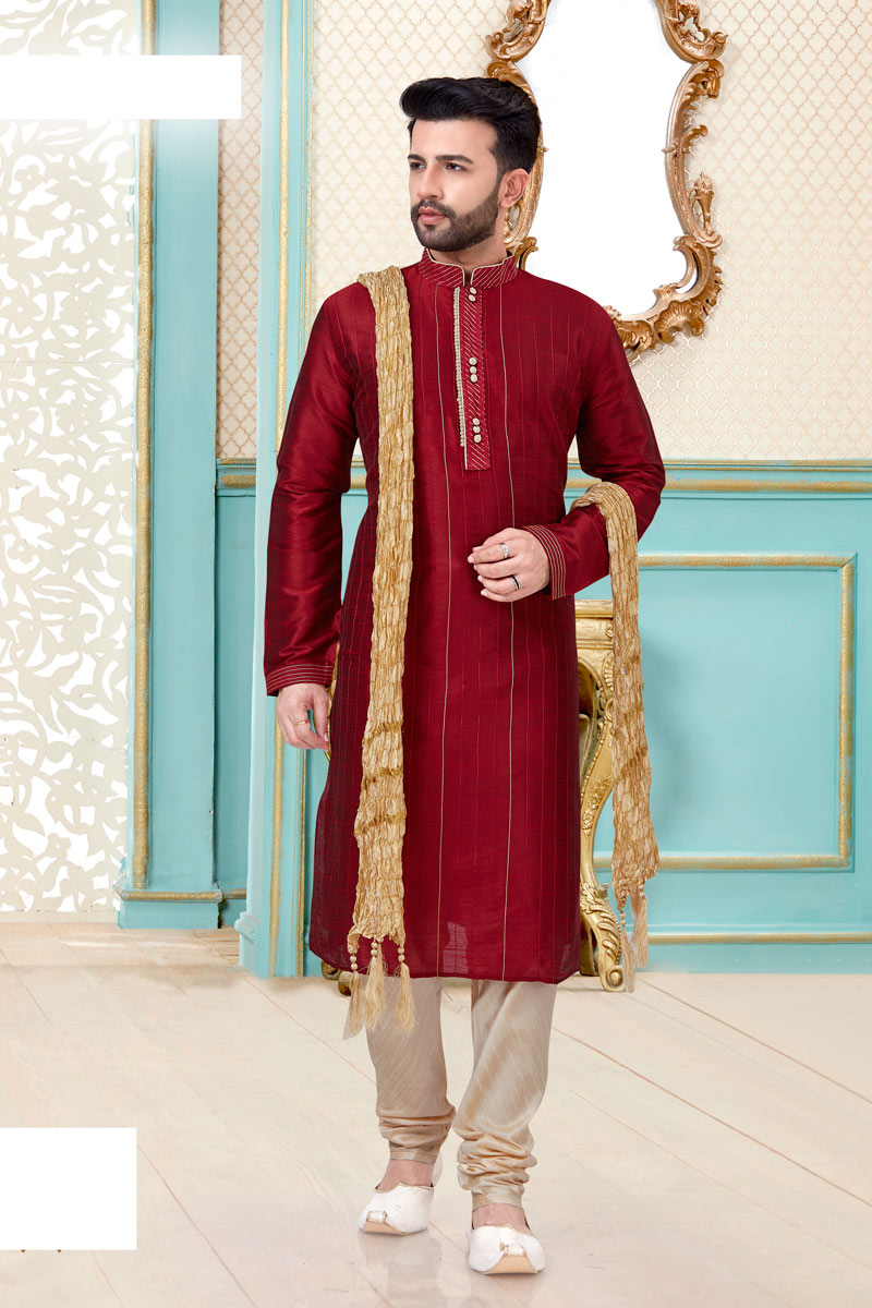 Mens Function Wear Maroon Color Kurta Pyjama