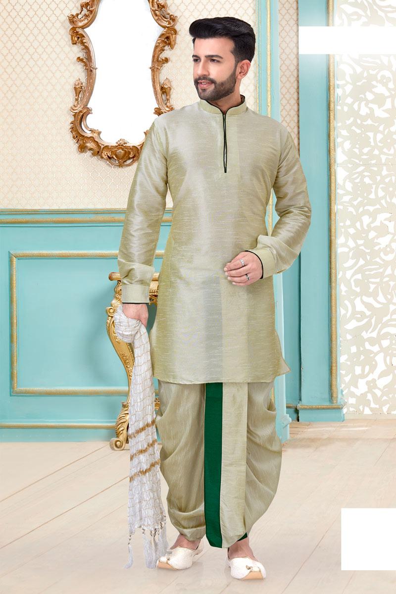Beige Color Function Wear Fancy Dhoti Kurta