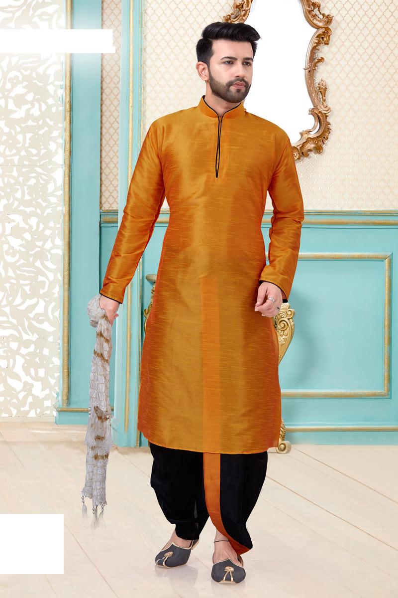 Festive Wear Stylish Dhoti Kurta In Orange Color