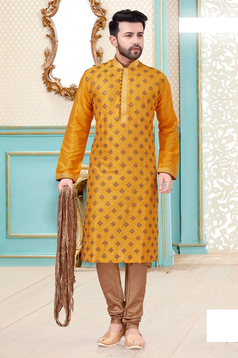 Sangeet Wear Silk Fabric Kurta Pyjama For Men