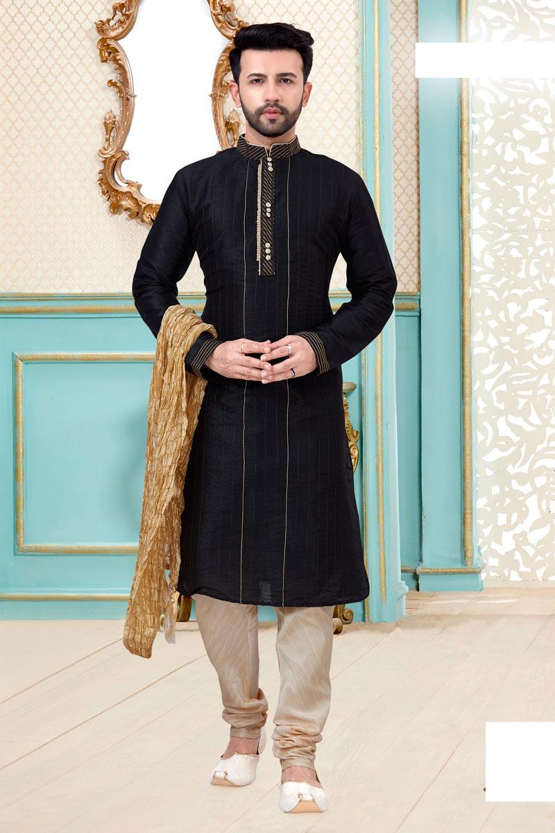 Black Color Silk Fabric Festive Wear Fancy Kurta Pyjama