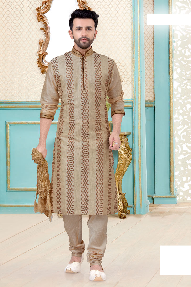 Silk Fabric Sangeet Wear Trendy Kurta Pyjama In Beige Color
