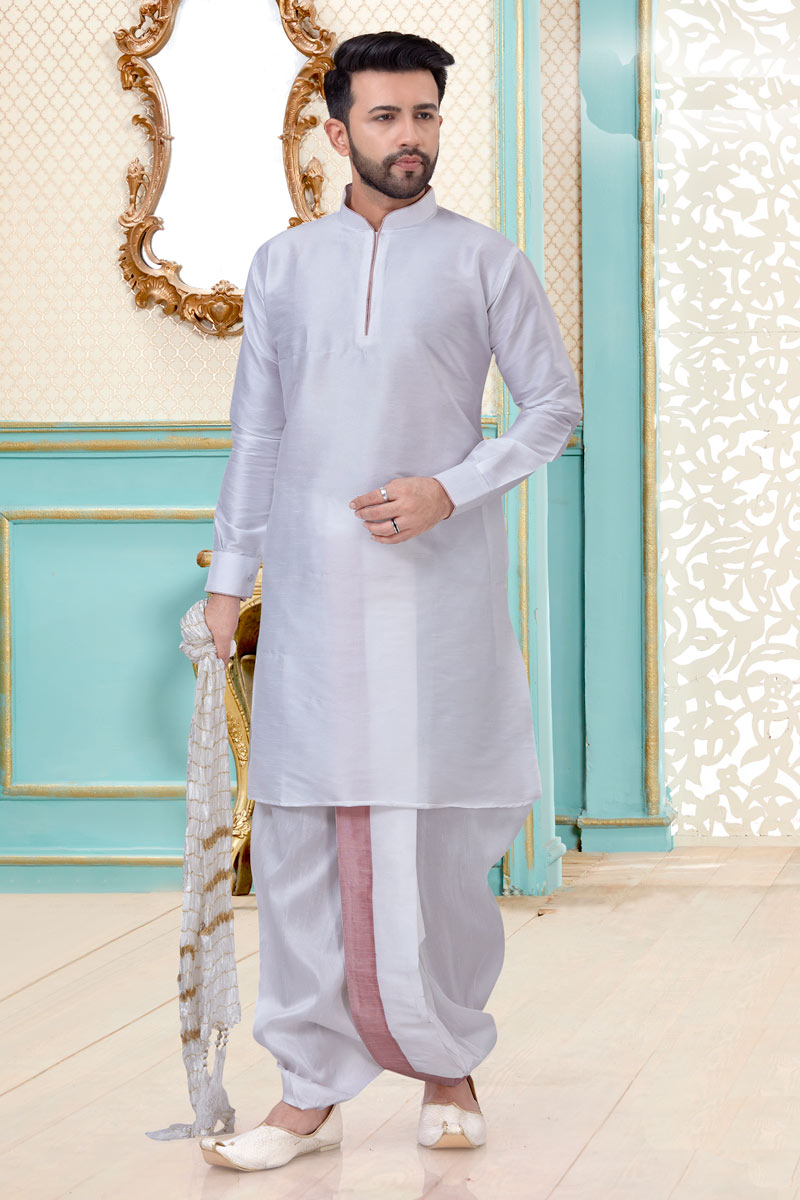 Wedding Wear Designer Dhoti Kurta In Silk Fabric White Color