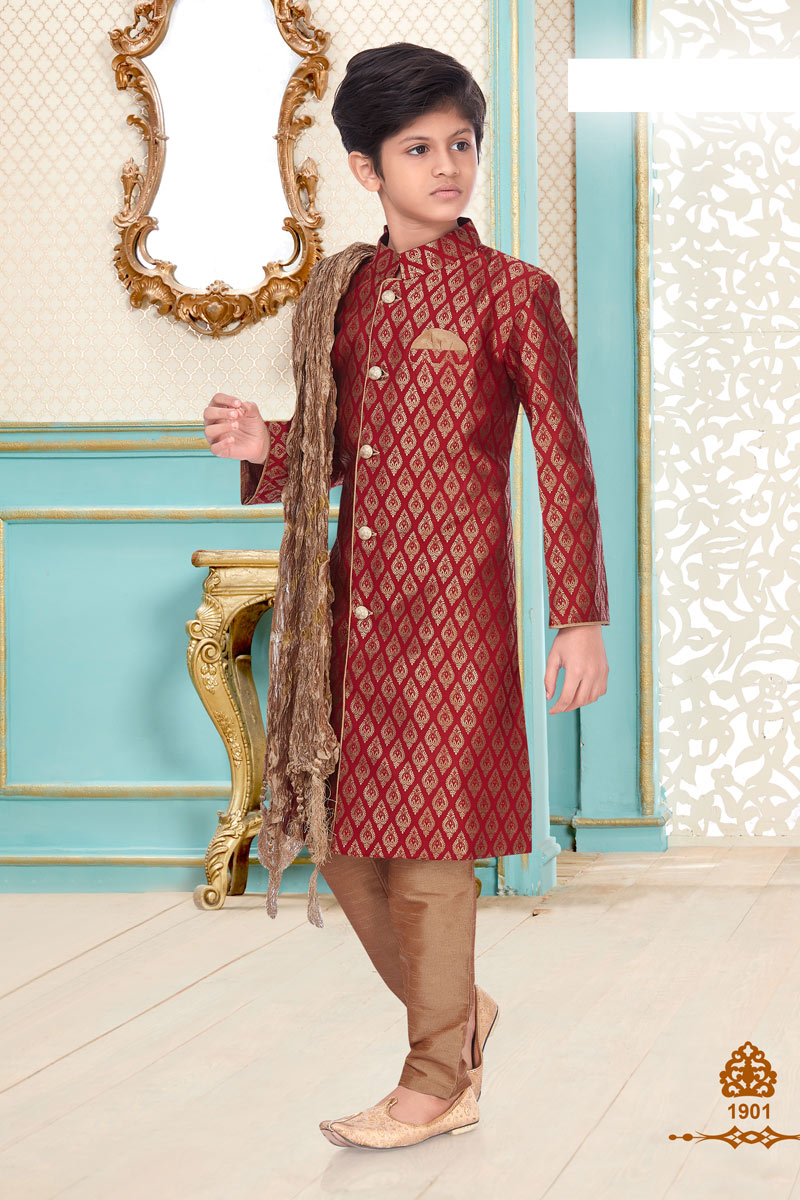 Function Wear Brocade Fabric Kurta Pyjama For Boys In Maroon Color