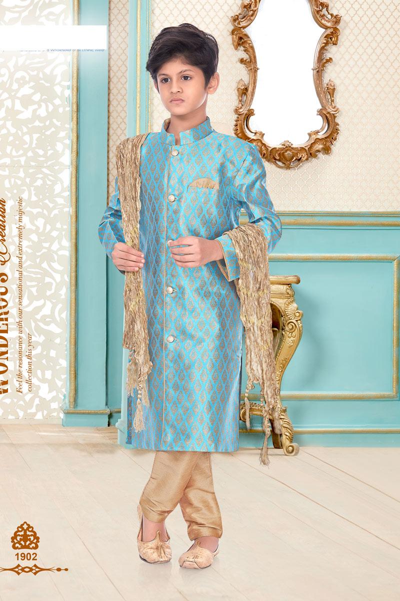 Cyan Color Function Wear Brocade Fabric Kurta Pyjama For Boys