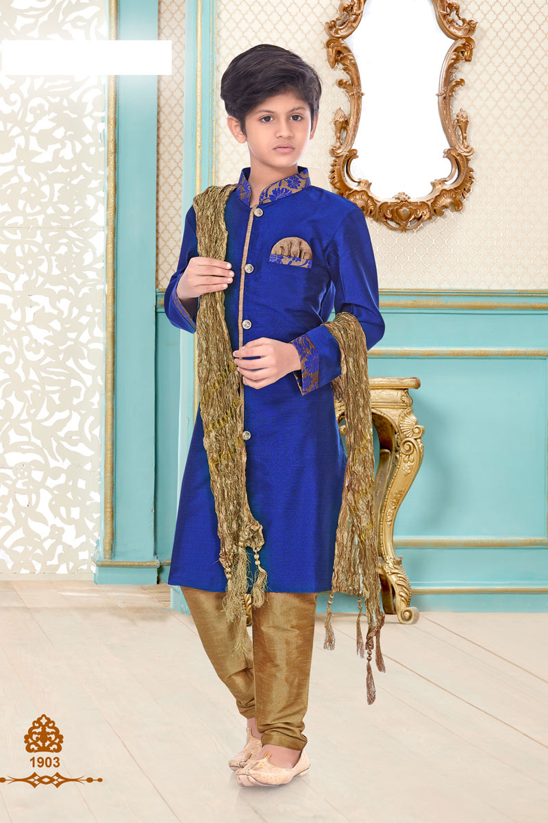 Linen Cotton Fabric Blue Color Function Wear Boys Kurta Pyjama