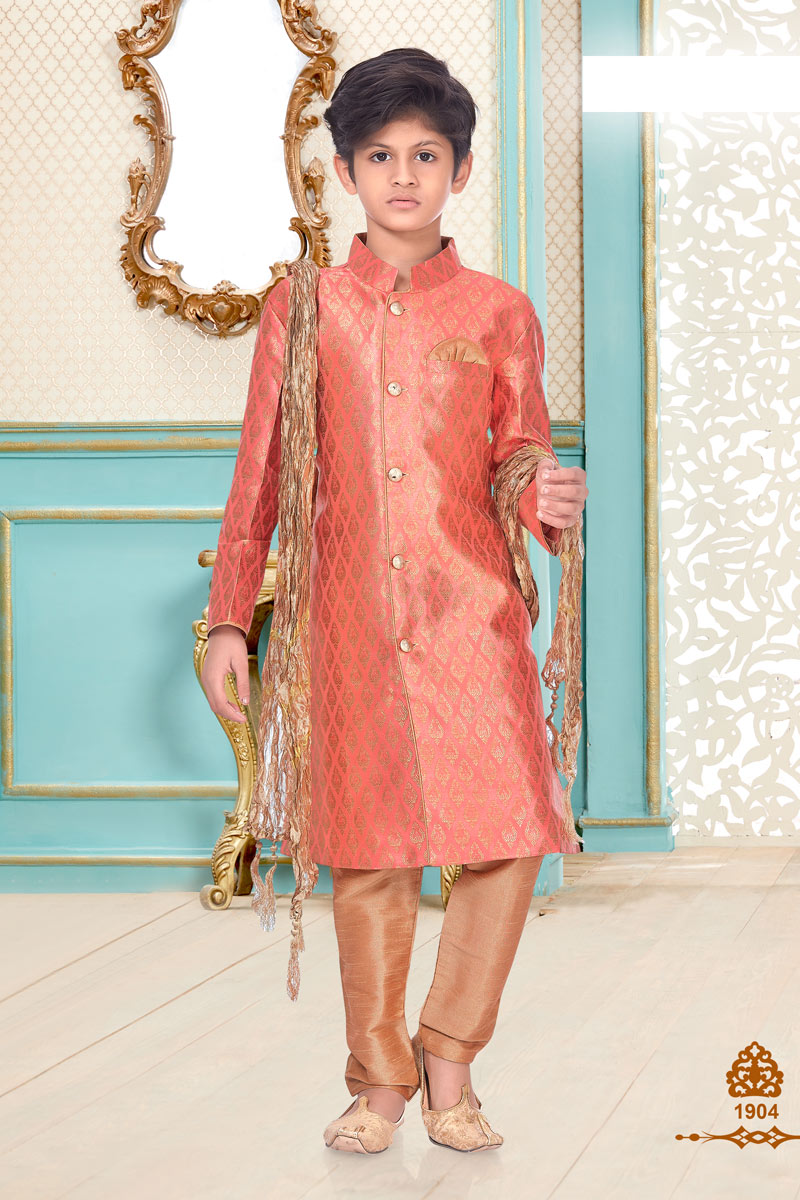 Sangeet Function Wear Brocade Fabric Peach Color Kurta Pyjama For Boys