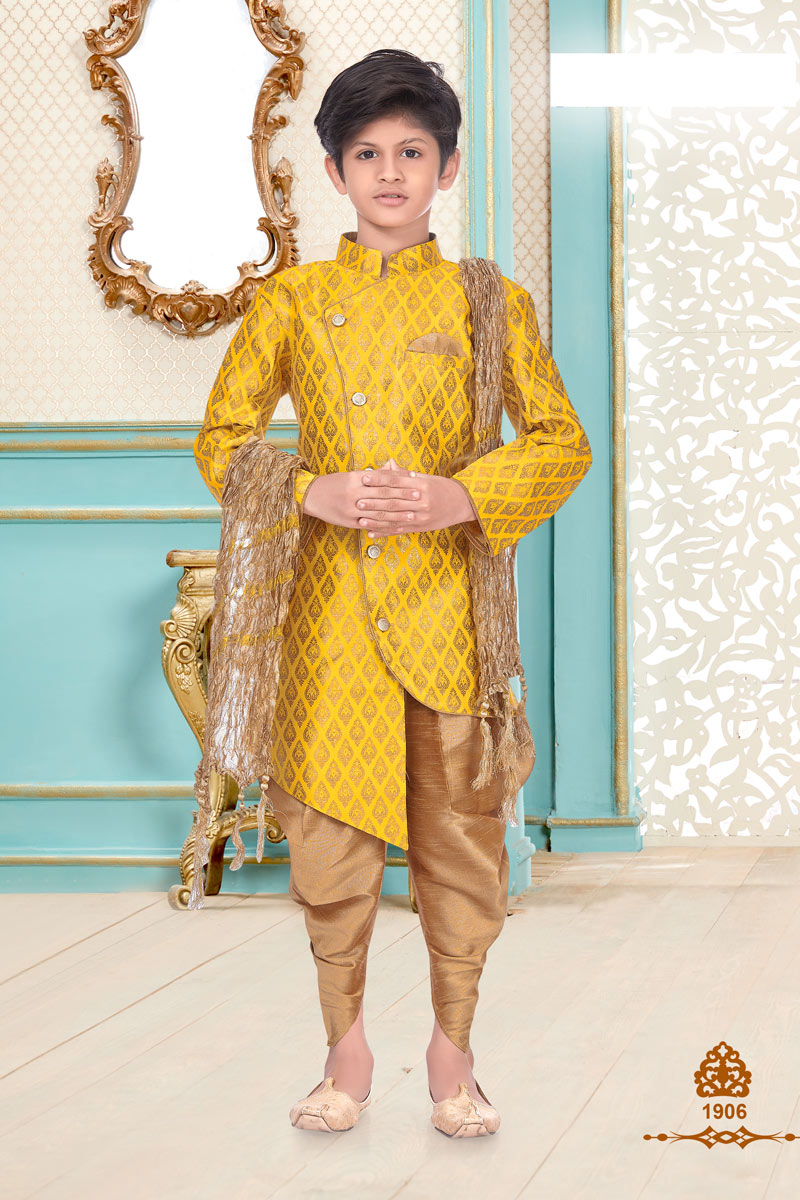 Brocade Fabric Yellow Color Traditional Wear Boys Fancy Kurta Pyjama