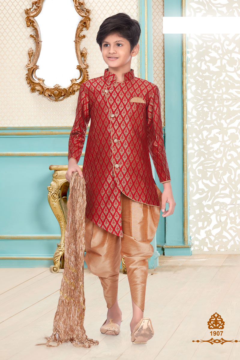 Red Color Traditional Wear Brocade Fabric Fancy Kurta Pyjama For Boys