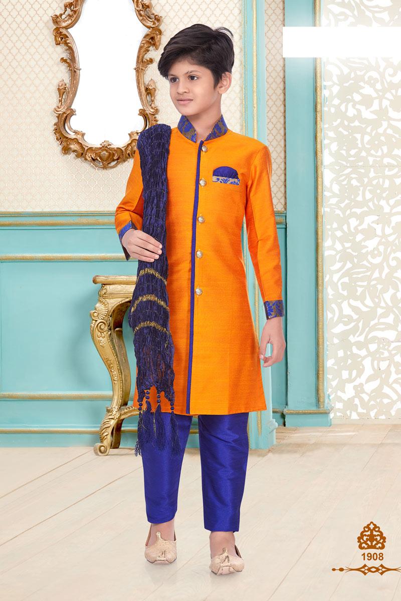 Traditional Wear Linen Cotton Fabric Fancy Kurta Pyjama For Boys In Orange Color