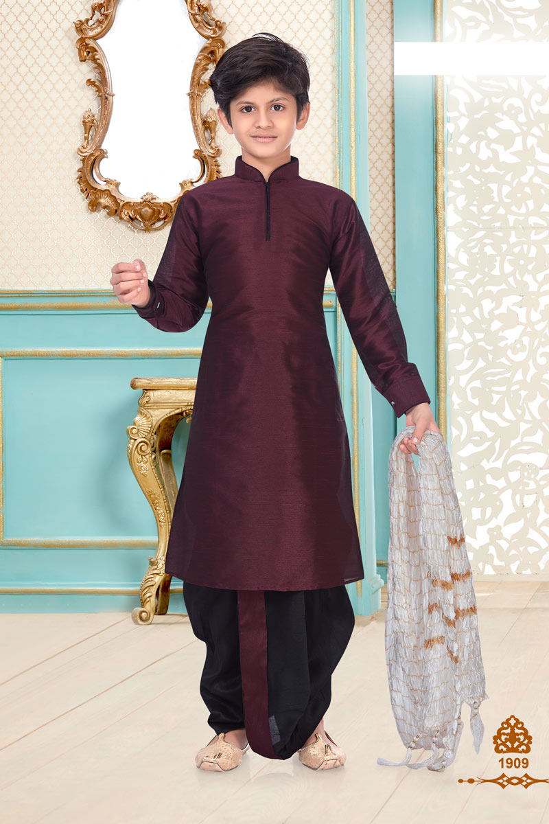 Occasion Wear Trendy Dhoti Kurta For Boys In Wine Color Silk Fabric