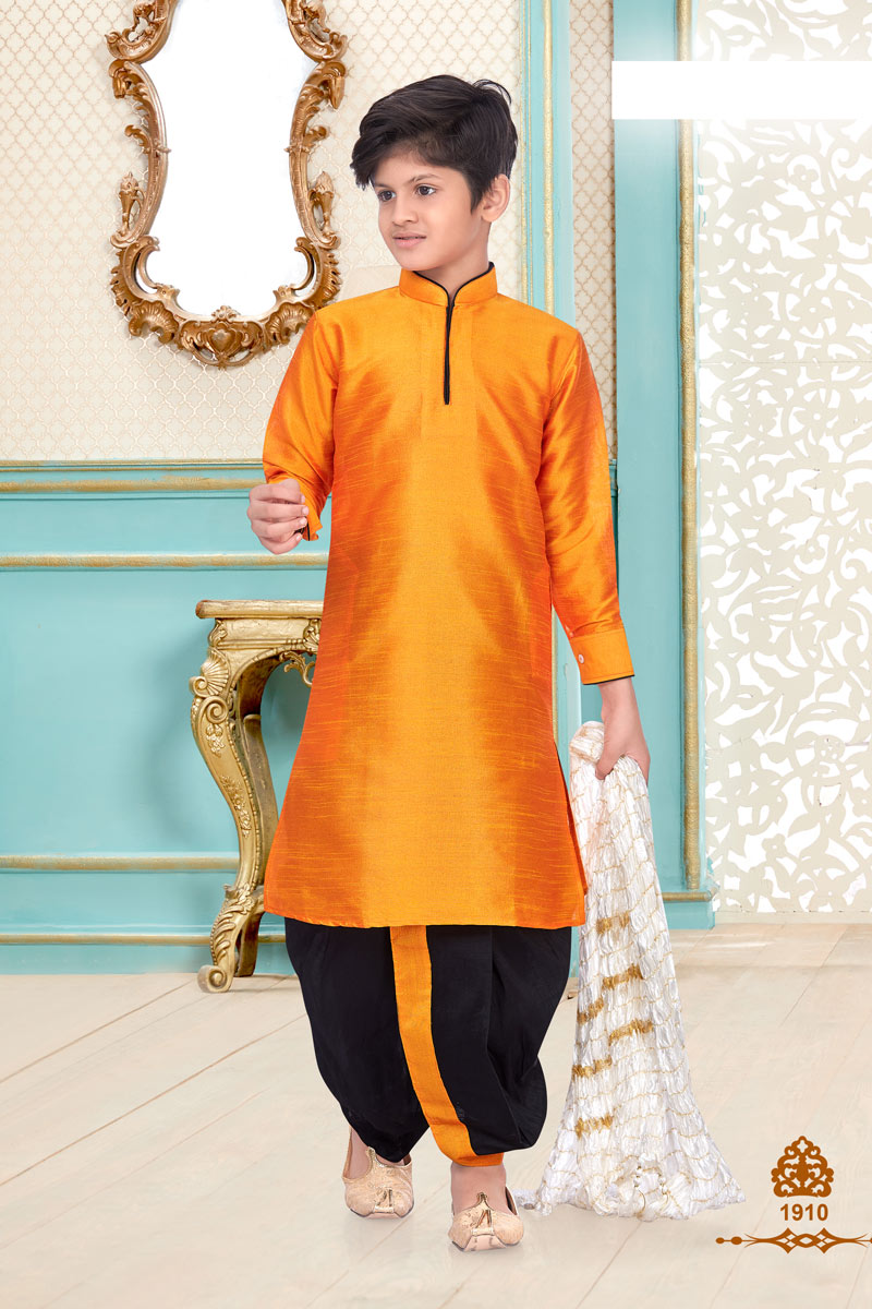 Occasion Wear Orange Color Silk Fabric Boys Trendy Dhoti Kurta