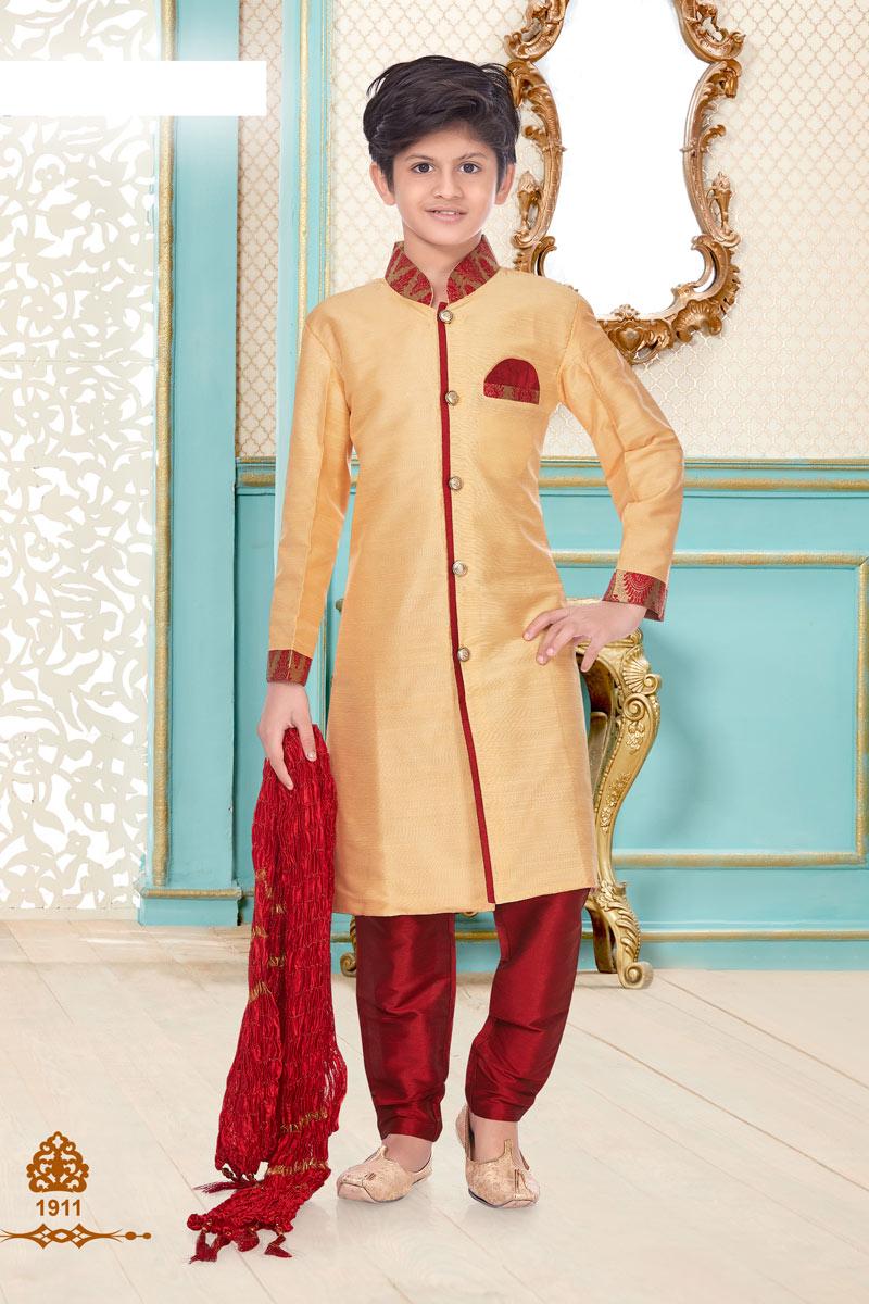 Linen Cotton Fabric Beige Color Occasion Wear Boys Trendy Kurta Pyjama